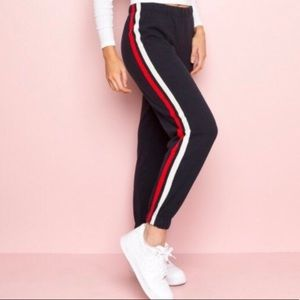 brandy melville red and white stripe sweatpants